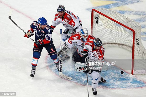 Jonathan Rheault of Mannheim scores his team's third goal during the DEL match between Adler Mannheim and Eisbaeren Berlin at SAP Arena on February...