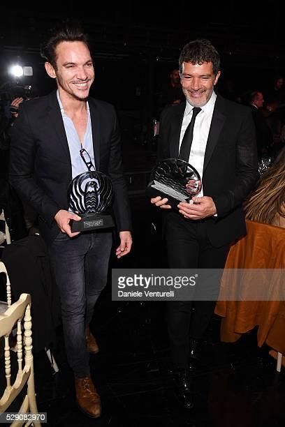 Jonathan Rhys Meyers and Antonio Banderas attend AMBI GALA in honor of Antonio Banderas and Jonathan Rhys Meyers on May 07 2016 in Rome