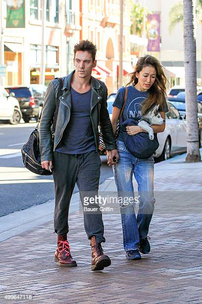 Jonathan Rhys Meyers and fiancee Mara Lane seen on December 02 2015 in Los Angeles California