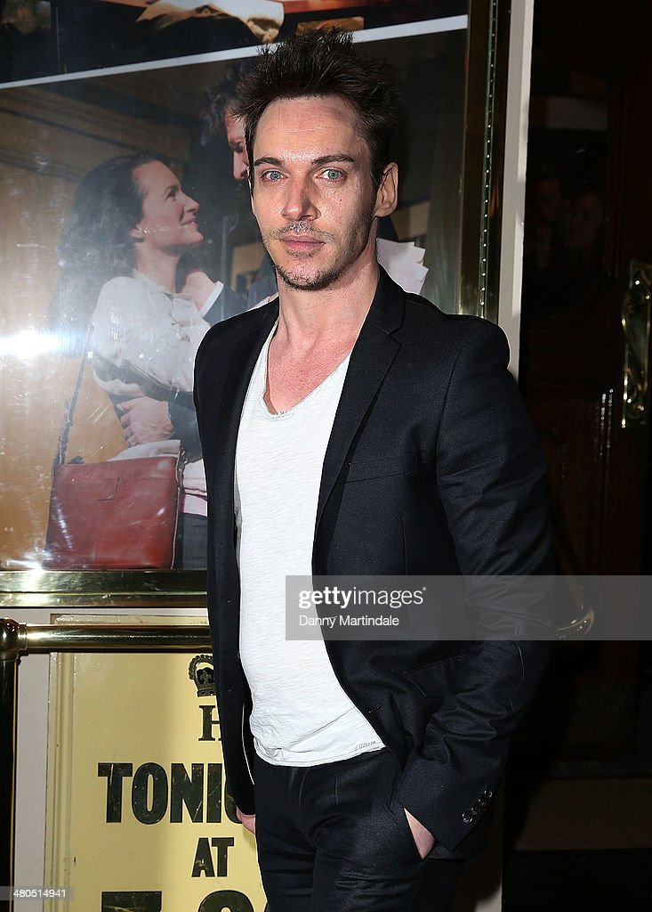 <a gi-track='captionPersonalityLinkClicked' href=/galleries/search?phrase=Jonathan+Rhys+Meyers&family=editorial&specificpeople=206662 ng-click='$event.stopPropagation()'>Jonathan Rhys Meyers</a> attends the press night of 'Fatal Attraction' at Theatre Royal on March 25, 2014 in London, England.