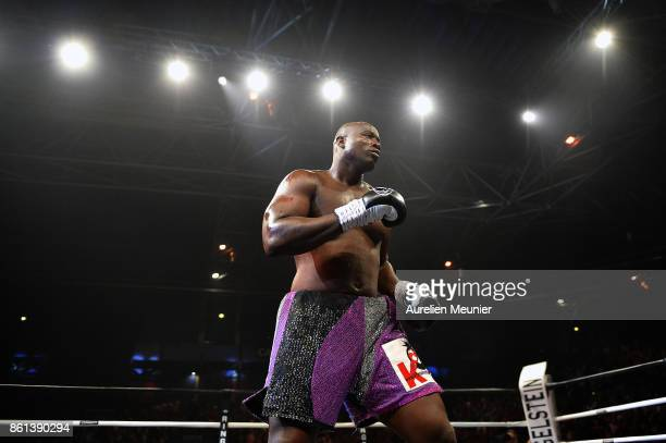 Jonathan Rice of The United States of America in action during an international heavyweight boxing match against Tony Yoka of France at Zenith on...