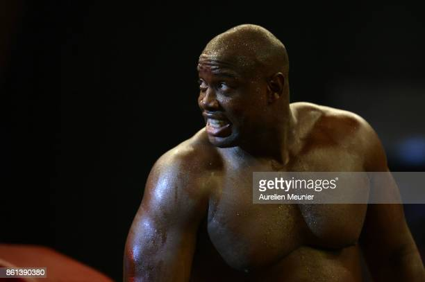 Jonathan Rice of The United States of America in reacts as he enters the arena for a international heavyweight boxing match against Tony Yoka of...