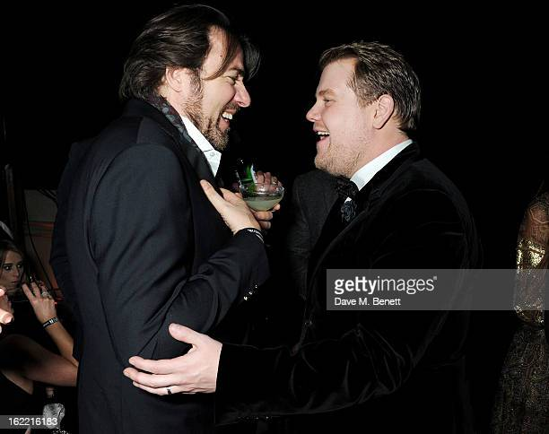 Jonathan Ross and James Corden attend the Universal Music Brits Party hosted by Bacardi at the Soho House popup on February 20 2013 in London England