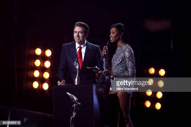 Jonathan Ross and Naomi Campbell present the Global Success award on stage at The BRIT Awards 2017 at The O2 Arena on February 22 2017 in London...