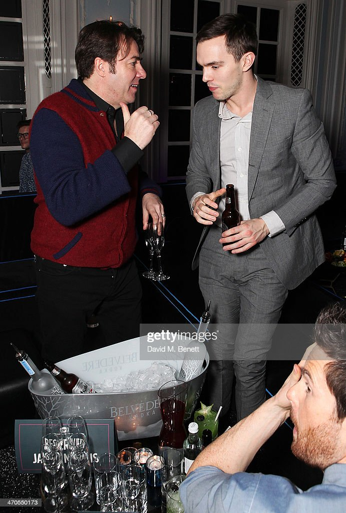Jonathan Ross and Nicholas Hoult are seen at Warner Belvedere Post BRIT Awards party at The Savoy Hotel on February 19 2014 in London England