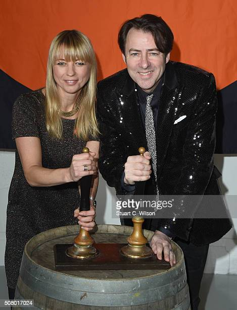 Jonathan Ross and Sara Cox arrive for Centrepoint's annual Ultimate Pub Quiz on February 2 2016 in London England