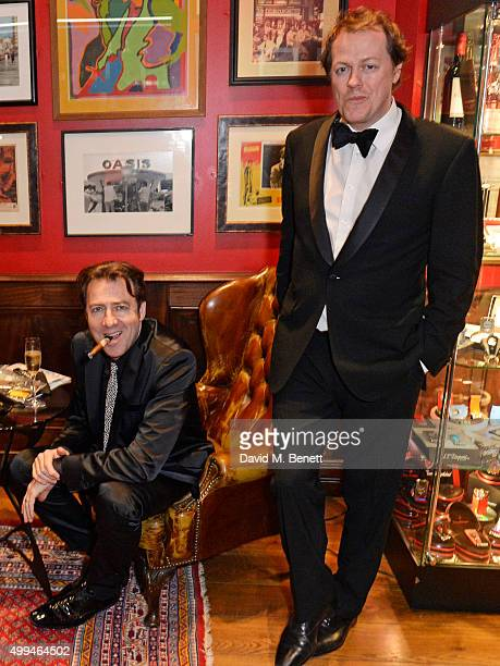 Jonathan Ross and Tom Parker Bowles attend The Snow Queen Cigar Smoker of the Year Awards Dinner 2015 at Boisdale Canary Wharf on December 1 2015 in...