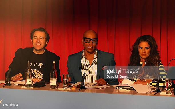 Jonathan Ross Ru Paul and Katie Price judging at the final of RuPaul's Drag Race 'UK Ambassador' hosted by truTV and RuPaul at Cafe De Paris ahead of...