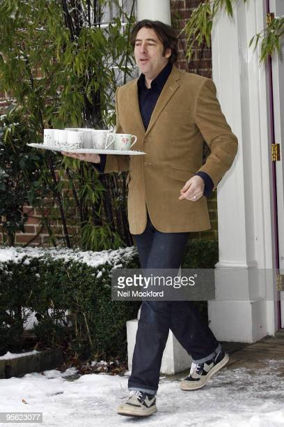 Jonathan Ross sighted outside his house making a statement regarding his resignation from the BBC on January 7 2010 in London England