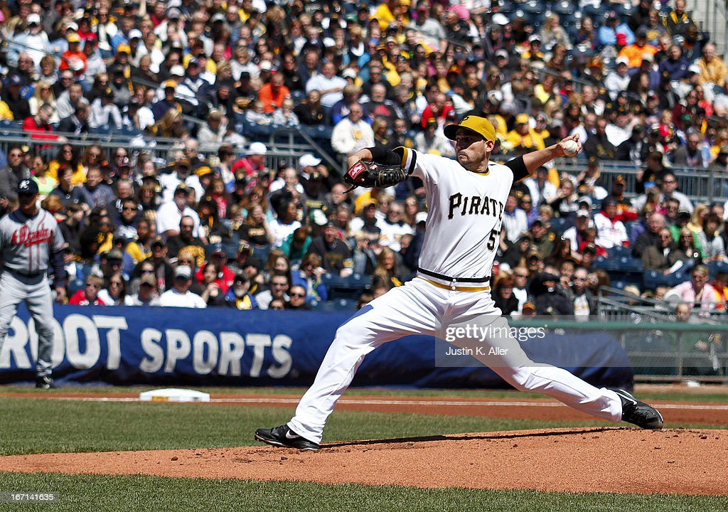 <a gi-track='captionPersonalityLinkClicked' href=/galleries/search?phrase=Jonathan+Sanchez&family=editorial&specificpeople=534575 ng-click='$event.stopPropagation()'>Jonathan Sanchez</a> #57 of the Pittsburgh Pirates pitches in the first inning against the Atlanta Braves during the game on April 21, 2013 at PNC Park in Pittsburgh, Pennsylvania.