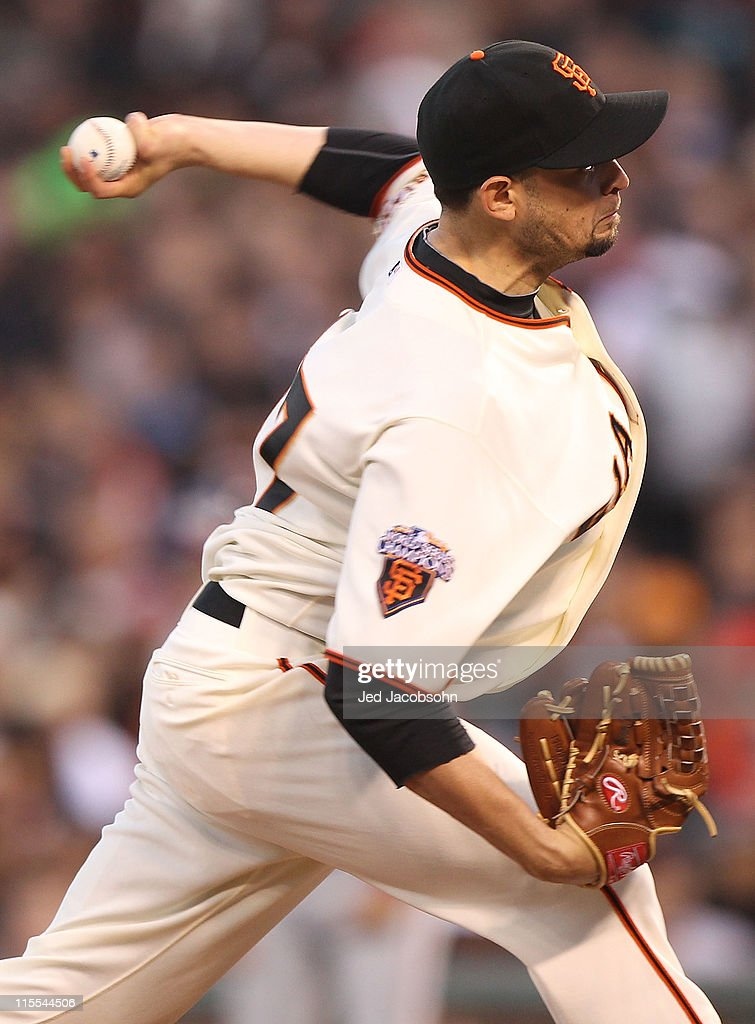 <a gi-track='captionPersonalityLinkClicked' href=/galleries/search?phrase=Jonathan+Sanchez&family=editorial&specificpeople=534575 ng-click='$event.stopPropagation()'>Jonathan Sanchez</a> #57 of the San Francisco Giants pitches against theWashington Nationals during an MLB game at AT&T Park on June 7, 2011 in San Francisco, California.