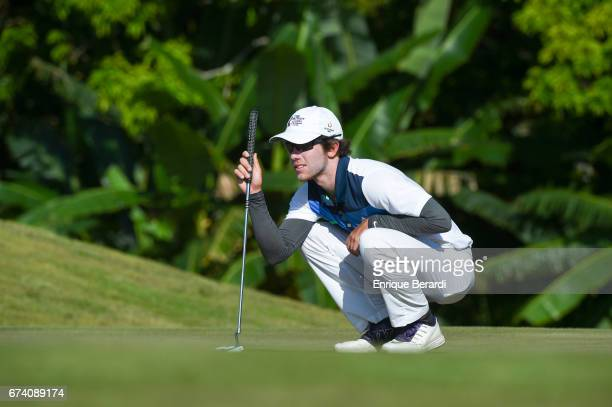 Jonathan Sanders of the United States lines up a putt on the 17h green during the second round of the PGA TOUR Latinoamérica Honduras Open presented...