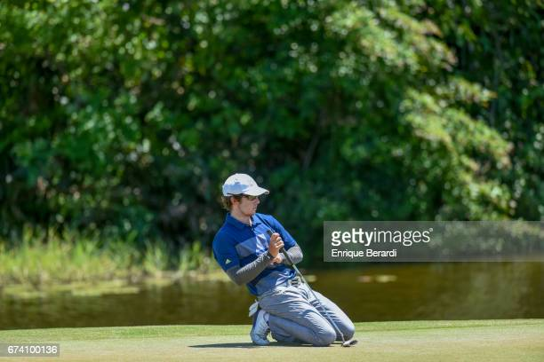 Jonathan Sanders of the United States reacts to making a birdie putt on the seventh hole during the final round of the PGA TOUR Latinoamérica...