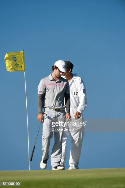 Jonathan Sanders of the United States reacts to missing a par putt on the 14th hole during the third round of the PGA TOUR Latinoamérica Honduras...