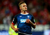 Jonathan Schmid of Hoffenheim celebrates after he scores his team's opening goal during the Bundesliga match between 1 FSV Mainz 05 and 1899...