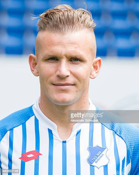 Jonathan Schmid poses during the team presentation of 1899 Hoffenheim at Wirsol RheinNeckarArena on July 14 2015 in Sinsheim Germany
