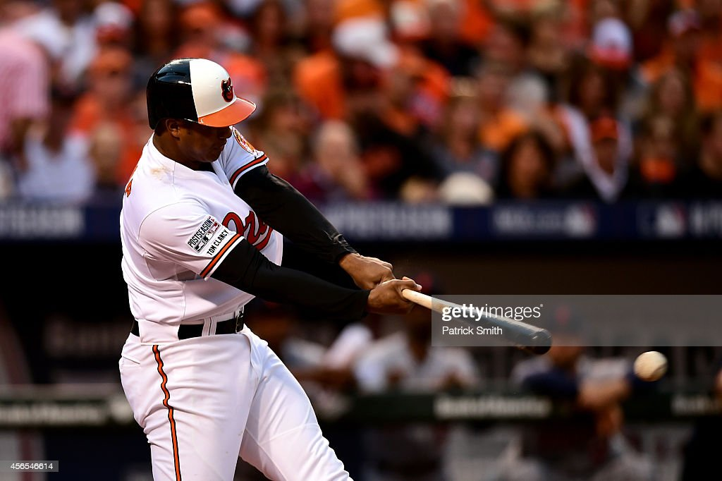 <a gi-track='captionPersonalityLinkClicked' href=/galleries/search?phrase=Jonathan+Schoop&family=editorial&specificpeople=2526897 ng-click='$event.stopPropagation()'>Jonathan Schoop</a> #6 hits a single in the second inning against Max Scherzer #37 of the Detroit Tigers during Game One of the American League Division Series at Oriole Park at Camden Yards on October 2, 2014 in Baltimore, Maryland.