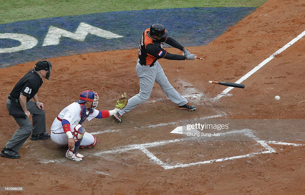 Jonathan Schoop of Netherlands bats top in the second inning during the World Baseball Classic First Round Group B match between the Netherland and Chinese Taipei at Intercontinental Baseball Stadium on March 3, 2013 in Taichung, Taiwan.