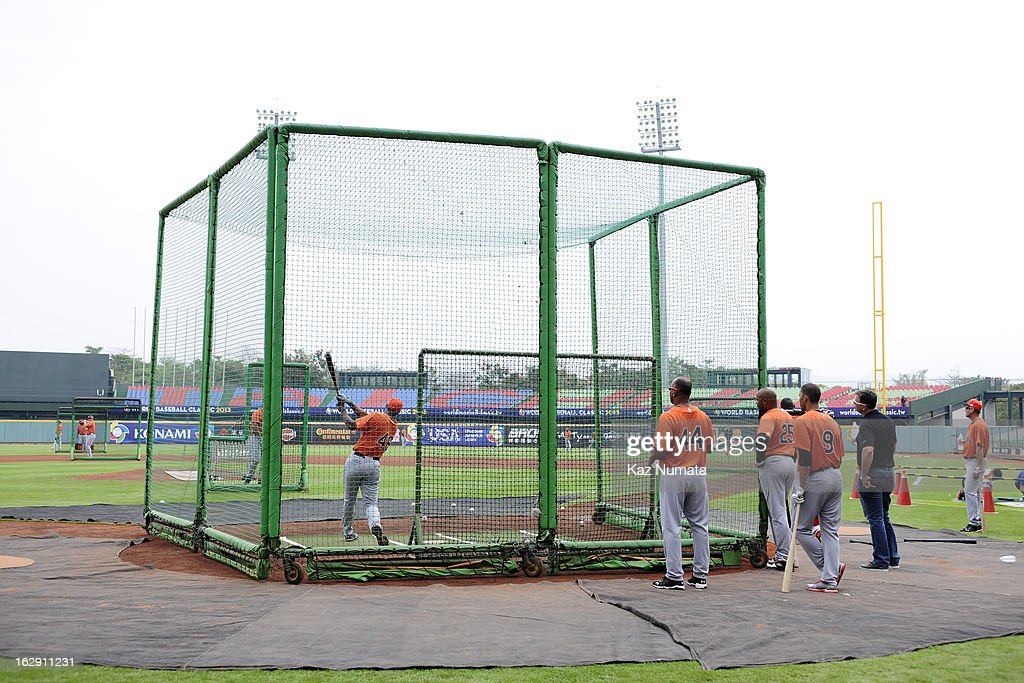 Jonathan Schoop #46 of Team Netherlands takes batting practice during the World Baseball Classic workout day at Taichung Intercontinental Baseball Stadium on March 1, 2013 in Taichung, Taiwan.