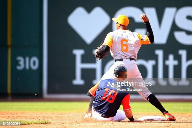 Jonathan Schoop of the Baltimore Orioles attempts to turn a double play over the slide of Mitch Moreland of the Boston Red Sox in the seventh inning...