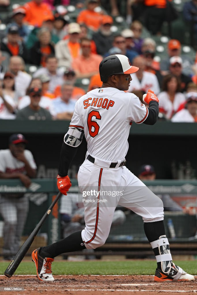 Jonathan Schoop #6 of the Baltimore Orioles bats against the Minnesota Twins at Oriole Park at Camden Yards on May 24, 2017 in Baltimore, Maryland.