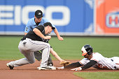 Jonathan Schoop of the Baltimore Orioles beats the tag by Trevor Story of the Colorado Rockies for a double in first inning during a baseball game at...