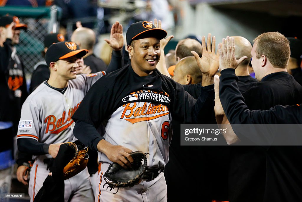 <a gi-track='captionPersonalityLinkClicked' href=/galleries/search?phrase=Jonathan+Schoop&family=editorial&specificpeople=2526897 ng-click='$event.stopPropagation()'>Jonathan Schoop</a> #6 of the Baltimore Orioles celebrates with teammates after their 2 to 1 win over the Detroit Tigers to sweep the series in Game Three of the American League Division Series at Comerica Park on October 5, 2014 in Detroit, Michigan.