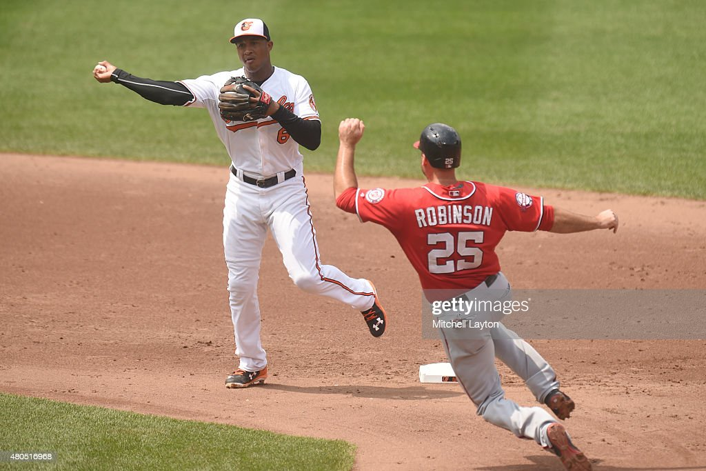 <a gi-track='captionPersonalityLinkClicked' href=/galleries/search?phrase=Jonathan+Schoop&family=editorial&specificpeople=2526897 ng-click='$event.stopPropagation()'>Jonathan Schoop</a> #6 of the Baltimore Orioles forces out Clint Robinson #25 of the Washington Nationals on a double play ball hit by Dan Uggla #26 (not pictured) in the sixth inning during a baseball game at Oriole Park at Camden Yards on July 12, 2015 in Baltimore, Maryland. The Nationals won 3-2.
