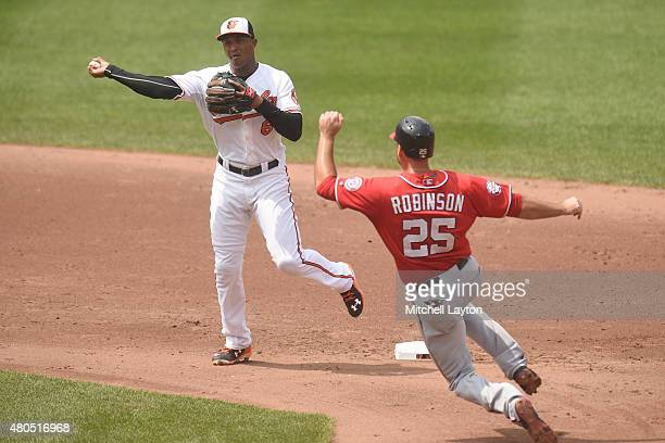 Jonathan Schoop of the Baltimore Orioles forces out Clint Robinson of the Washington Nationals on a double play ball hit by Dan Uggla in the sixth...