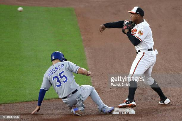 Jonathan Schoop of the Baltimore Orioles forces out Eric Hosmer of the Kansas City Royals during the fourth inning at Oriole Park at Camden Yards on...