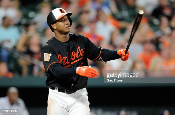Jonathan Schoop of the Baltimore Orioles hits a threerun home run in the ninth inning against the Houston Astros at Oriole Park at Camden Yards on...