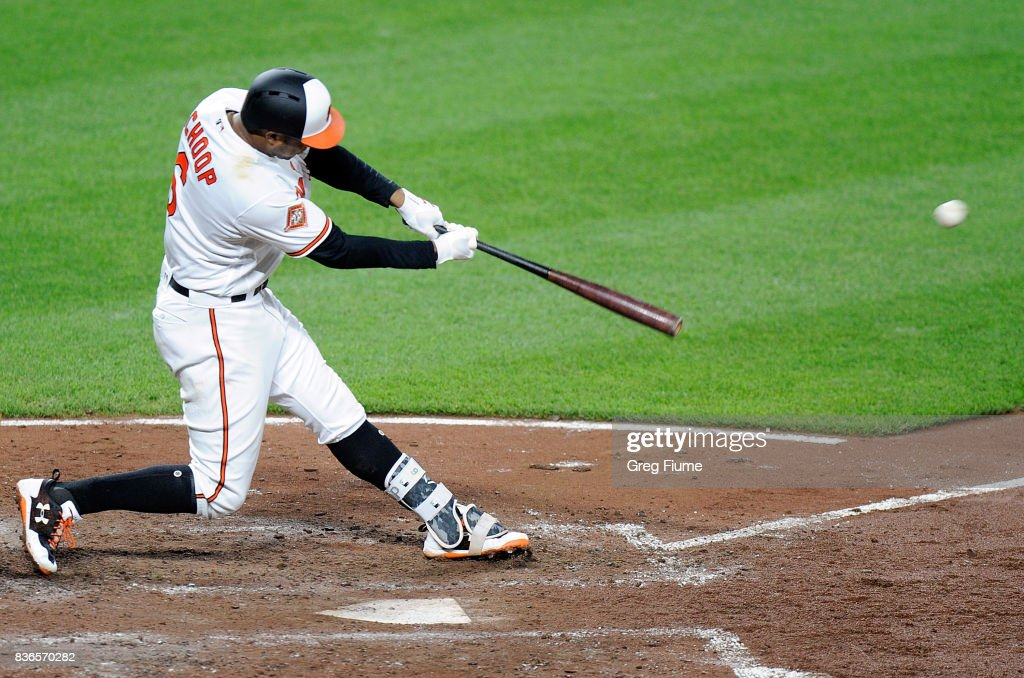 Jonathan Schoop #6 of the Baltimore Orioles hits a three-run home run in the fifth inning against the Oakland Athletics at Oriole Park at Camden Yards on August 21, 2017 in Baltimore, Maryland.