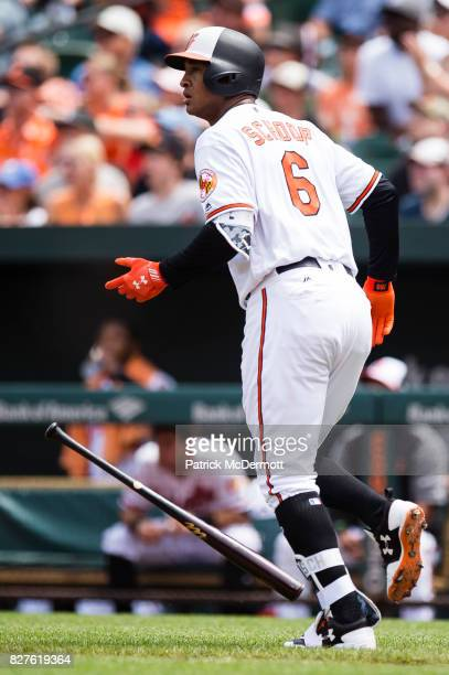 Jonathan Schoop of the Baltimore Orioles hits a tworun home run in the first inning against the Detroit Tigers during a game at Oriole Park at Camden...