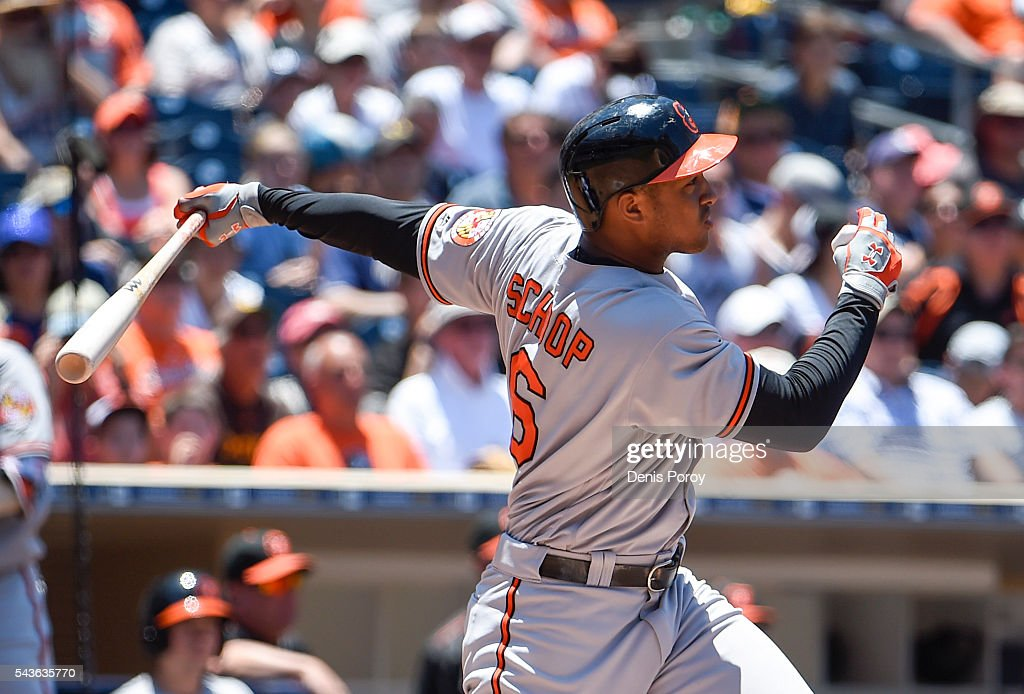 <a gi-track='captionPersonalityLinkClicked' href=/galleries/search?phrase=Jonathan+Schoop&family=editorial&specificpeople=2526897 ng-click='$event.stopPropagation()'>Jonathan Schoop</a> #6 of the Baltimore Orioles hits an RBI double during the fourth inning of a baseball game against the San Diego Padres at PETCO Park on June 29, 2016 in San Diego, California.