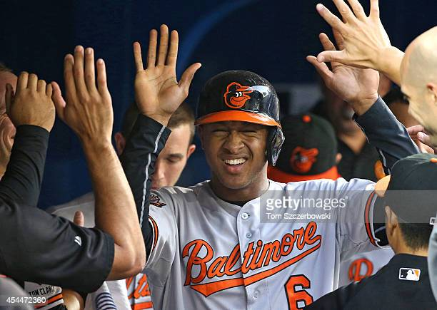 Jonathan Schoop of the Baltimore Orioles is congratulated by teammates in the dugout after hitting a solo home run in the fourth inning during MLB...