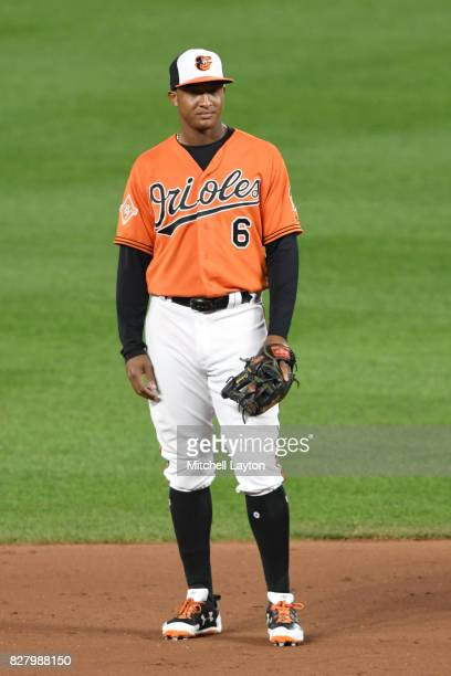 Jonathan Schoop of the Baltimore Orioles looks on during a baseball game against the Detroit Tigers at Oriole Park at Camden Yards on August 5 2017...