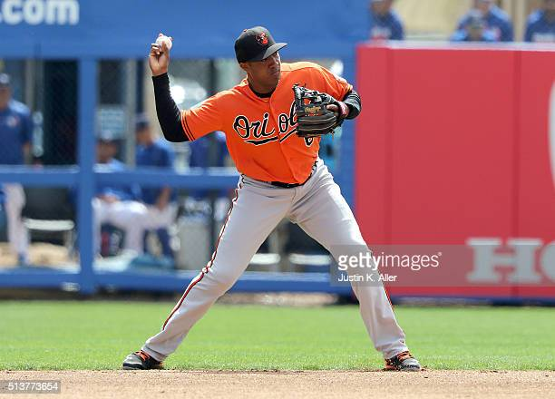 Jonathan Schoop of the Baltimore Orioles makes a play to first base during the game against the Toronto Blue Jays at Florida Auto Exchange Stadium on...