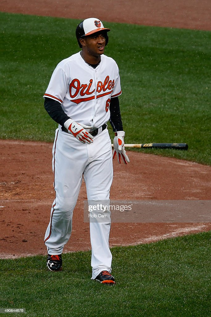 <a gi-track='captionPersonalityLinkClicked' href=/galleries/search?phrase=Jonathan+Schoop&family=editorial&specificpeople=2526897 ng-click='$event.stopPropagation()'>Jonathan Schoop</a> #6 of the Baltimore Orioles reacts after getting hit by a pitch against the Toronto Blue Jays in the first inning at Oriole Park at Camden Yards on October 1, 2015 in Baltimore, Maryland.