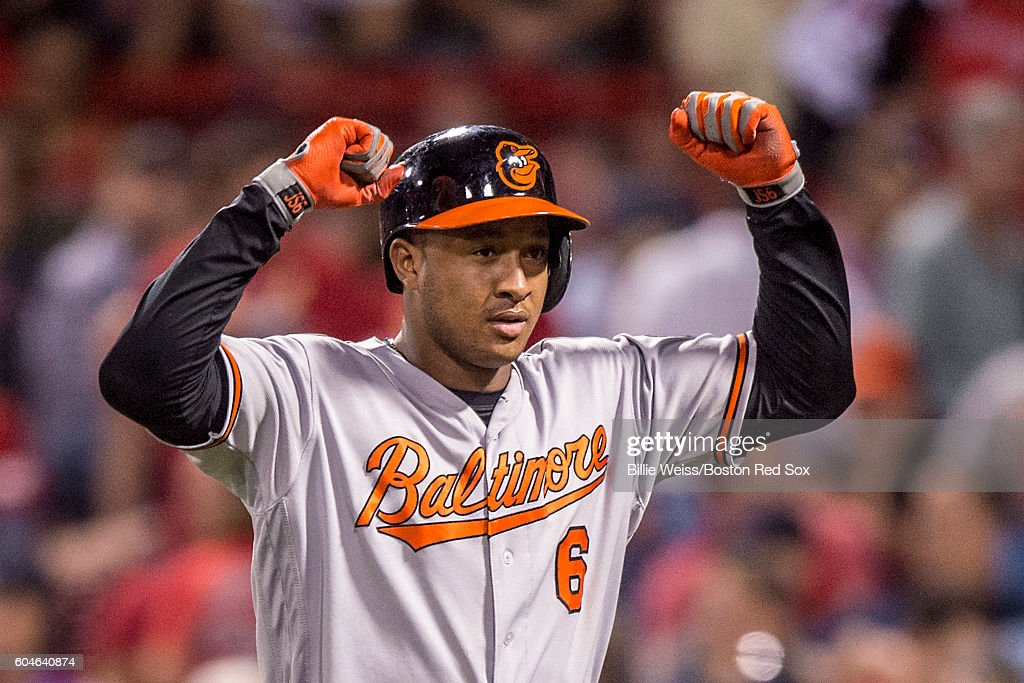 Jonathan Schoop #6 of the Baltimore Orioles reacts after hitting a solo home run during the ninth inning of a game against the Boston Red Sox on September 13, 2016 at Fenway Park in Boston, Massachusetts.