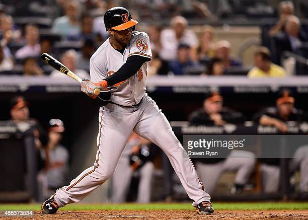 Jonathan Schoop of the Baltimore Orioles swings at a pitch against the New York Yankees at Yankee Stadium on September 8 2015 in New York City The...