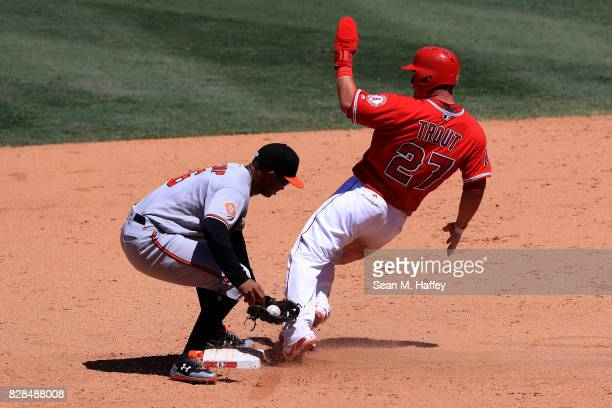 Jonathan Schoop of the Baltimore Orioles tags out Mike Trout of the Los Angeles Angels of Anaheim stealing second base during the fifth inning of a...