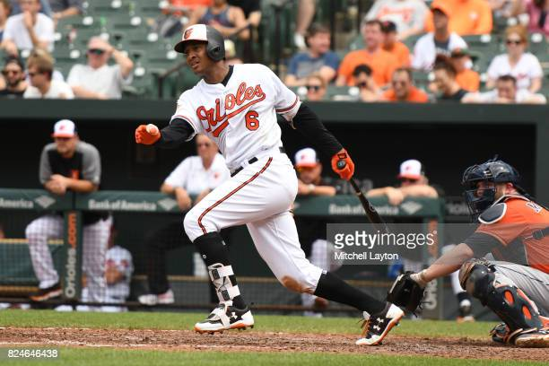 Jonathan Schoop of the Baltimore Orioles takes a swing during a baseball game against the Houston Astros at Oriole Park at Camden Yards on July 23...
