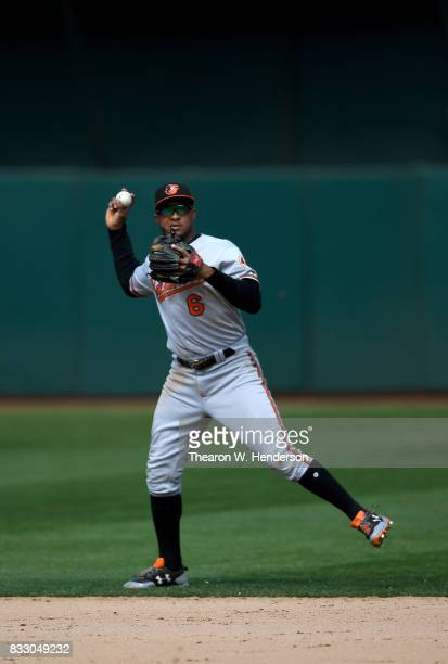 Jonathan Schoop of the Baltimore Orioles throws off balance to first base throwing out Bruce Maxwell of the Oakland Athletics in the bottom of the...
