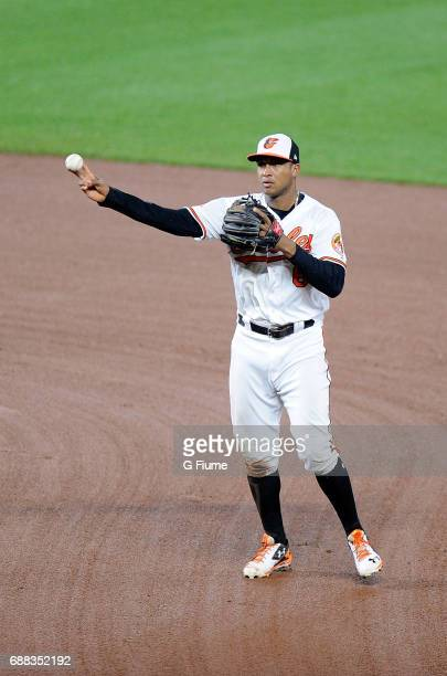 Jonathan Schoop of the Baltimore Orioles throws the ball to first base against the Minnesota Twins at Oriole Park at Camden Yards on May 23 2017 in...