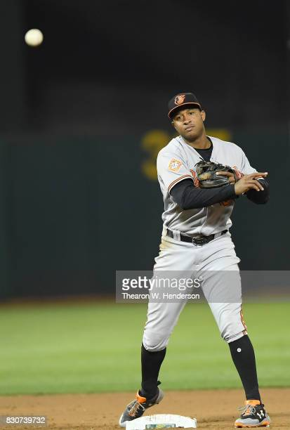 Jonathan Schoop of the Baltimore Orioles throws to first base to complete the doubleplay against the Oakland Athletics in the bottom of the eighth...