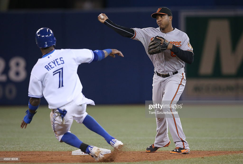 Jonathan Schoop #6 of the Baltimore Orioles turns a double play in the fifth inning during MLB game action as Jose Reyes #7 of the Toronto Blue Jays slides into second base on August 7, 2014 at Rogers Centre in Toronto, Ontario, Canada.