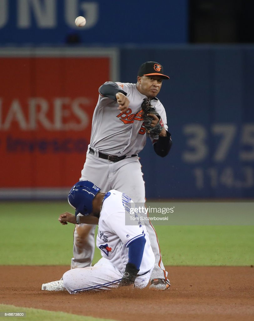 Jonathan Schoop #6 of the Baltimore Orioles turns a double play to end the seventh inning during MLB game action as Teoscar Hernandez #37 of the Toronto Blue Jays slides into second base at Rogers Centre on September 13, 2017 in Toronto, Canada.