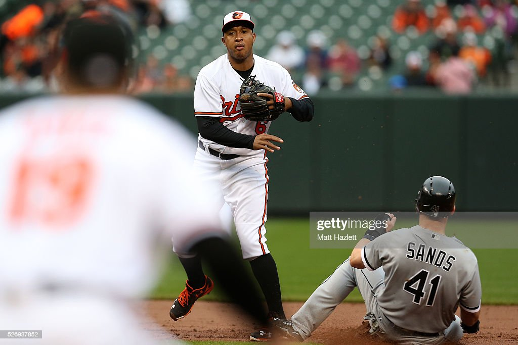 <a gi-track='captionPersonalityLinkClicked' href=/galleries/search?phrase=Jonathan+Schoop&family=editorial&specificpeople=2526897 ng-click='$event.stopPropagation()'>Jonathan Schoop</a> #6 of the Baltimore Orioles turns the double play over Jerry Sands #41 of the Chicago White Sox in the second inning at Oriole Park at Camden Yards on May 1, 2016 in Baltimore, Maryland.