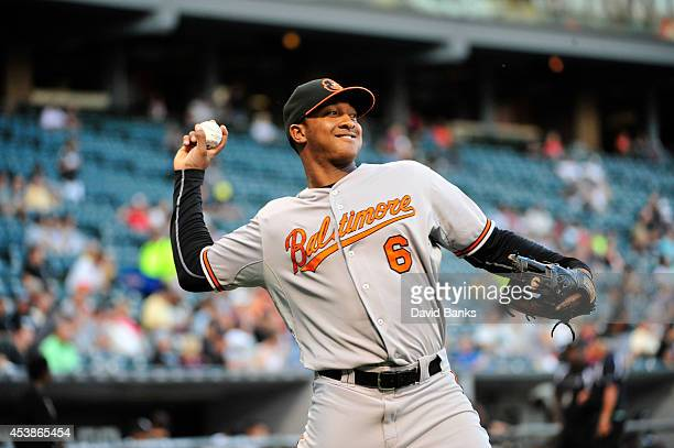 Jonathan Schoop of the Baltimore Orioles warms up before the game against the Chicago White Sox on August 19 2014 at U S Cellular Field in Chicago...