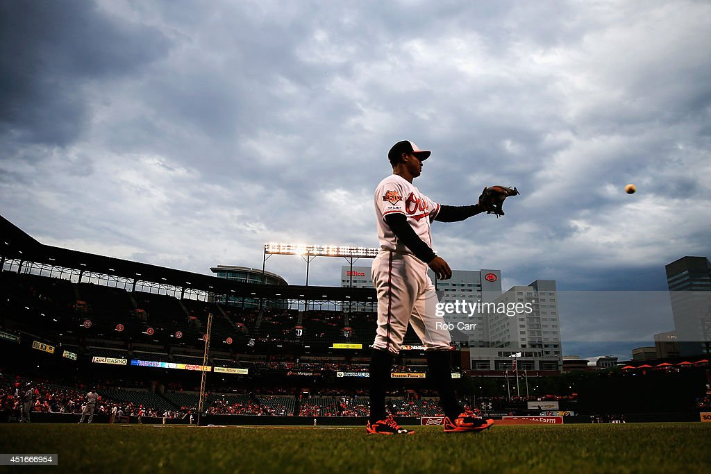 <a gi-track='captionPersonalityLinkClicked' href=/galleries/search?phrase=Jonathan+Schoop&family=editorial&specificpeople=2526897 ng-click='$event.stopPropagation()'>Jonathan Schoop</a> #6 of the Baltimore Orioles warms up before the start of the Orioles and Texas Rangers game at Oriole Park at Camden Yards on July 3, 2014 in Baltimore, Maryland.